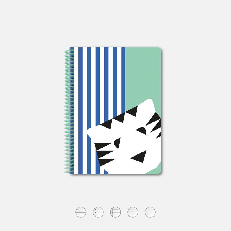 Aqua Striped Tiger A5 Notebook